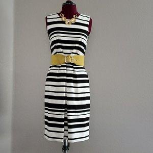 Ann Taylor black and white stripes sheat dress